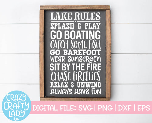 Lake Rules SVG Cut File