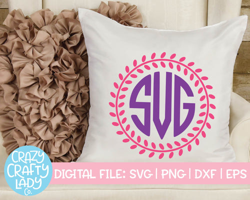 Laurel Wreath Monogram Frame SVG Cut File