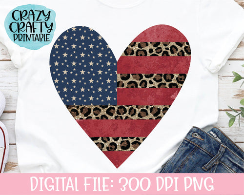 Leopard Print Flag Heart PNG Printable File