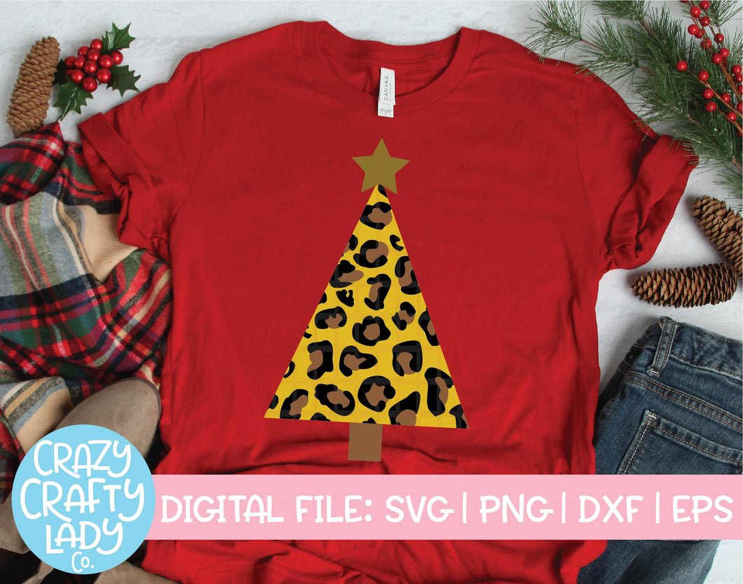 Leopard Print Christmas Tree SVG Cut File