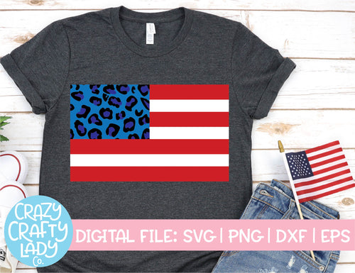 Leopard Print American Flag SVG Cut File