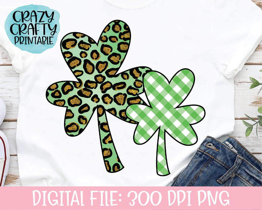 Leopard Print & Plaid Clovers PNG Printable File