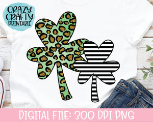 Leopard Print & Striped Clovers PNG Printable File