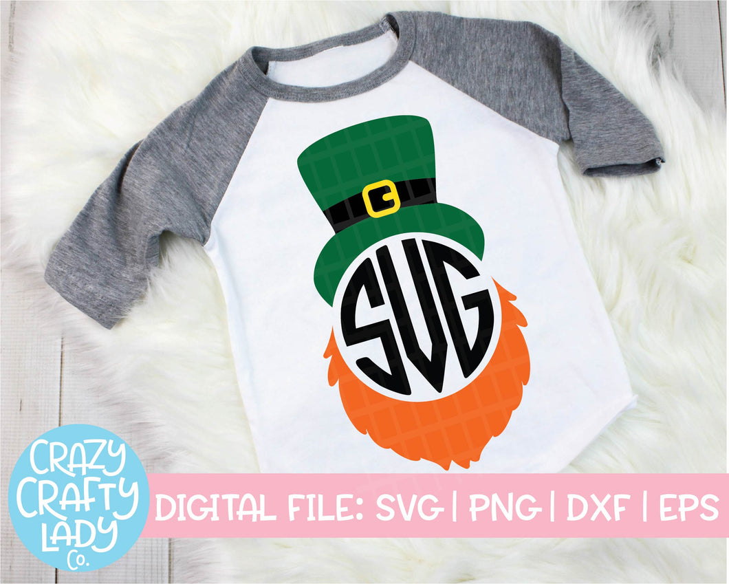 Leprechaun Hat & Beard Monogram Frame SVG Cut File