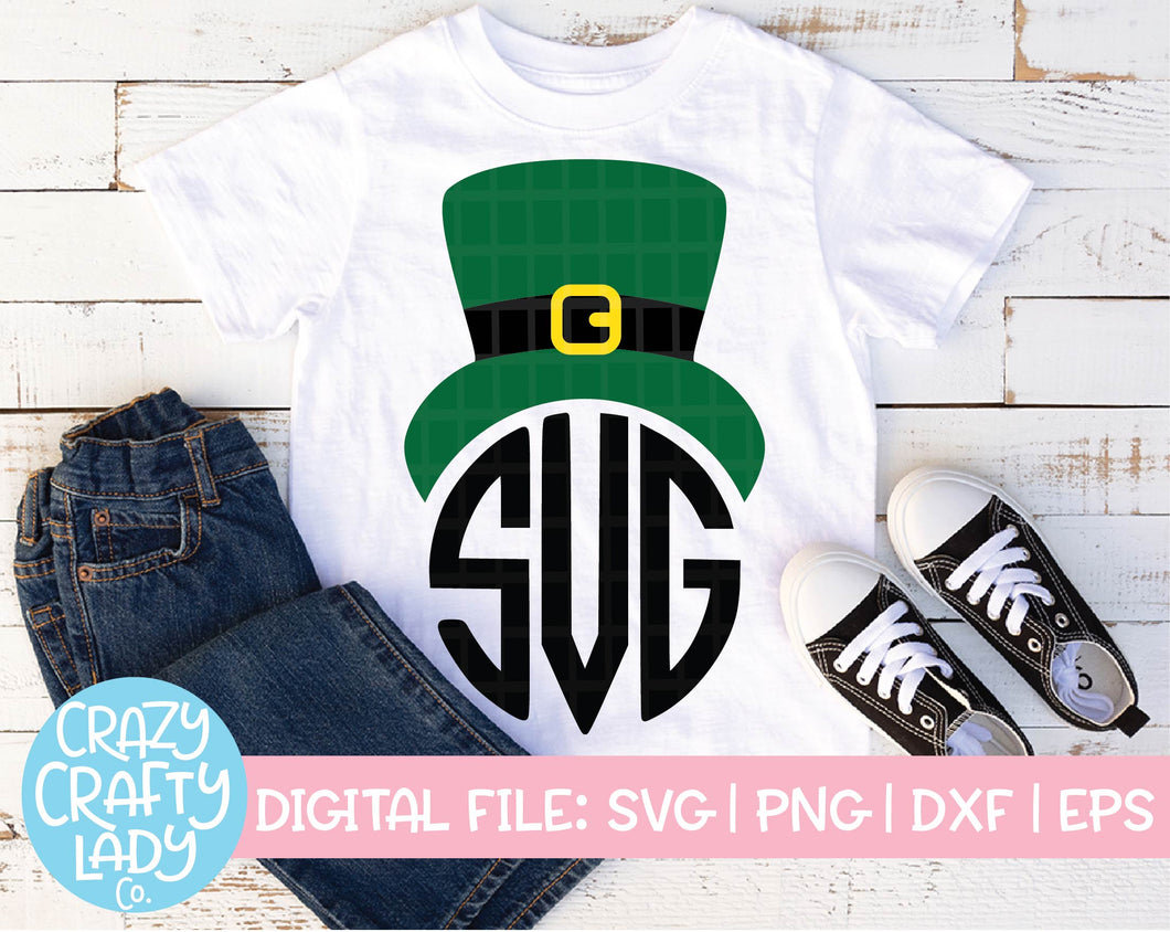 Leprechaun Hat Monogram Frame SVG Cut File