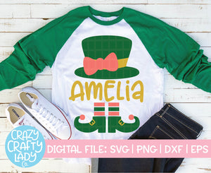 Girl Leprechaun Hat & Shoes SVG Cut File