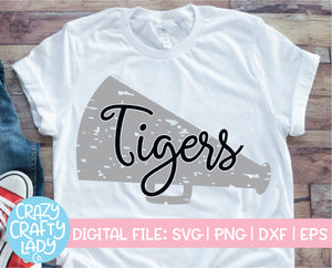 Grunge Tigers Megaphone SVG Cut File