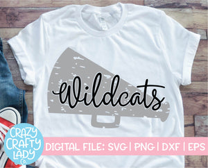 Grunge Wildcats Megaphone SVG Cut File