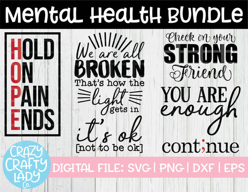 Mental Health SVG Cut File Bundle