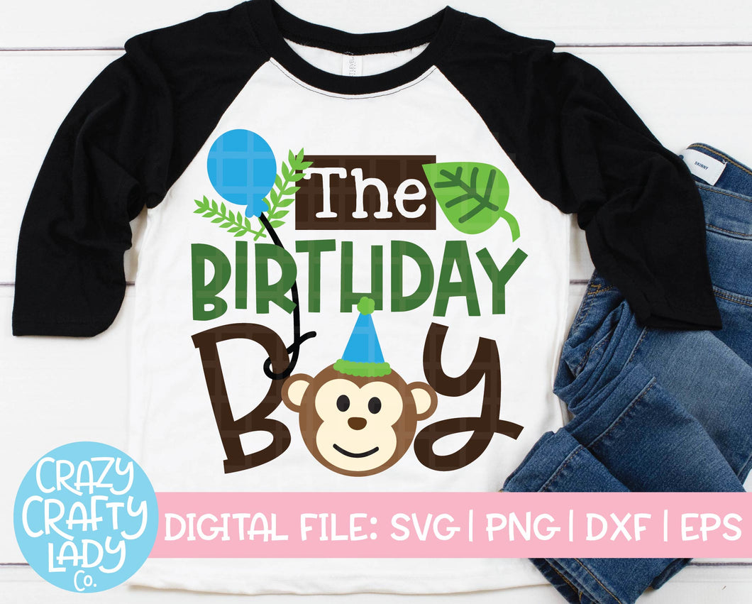 Monkey Birthday Boy SVG Cut File