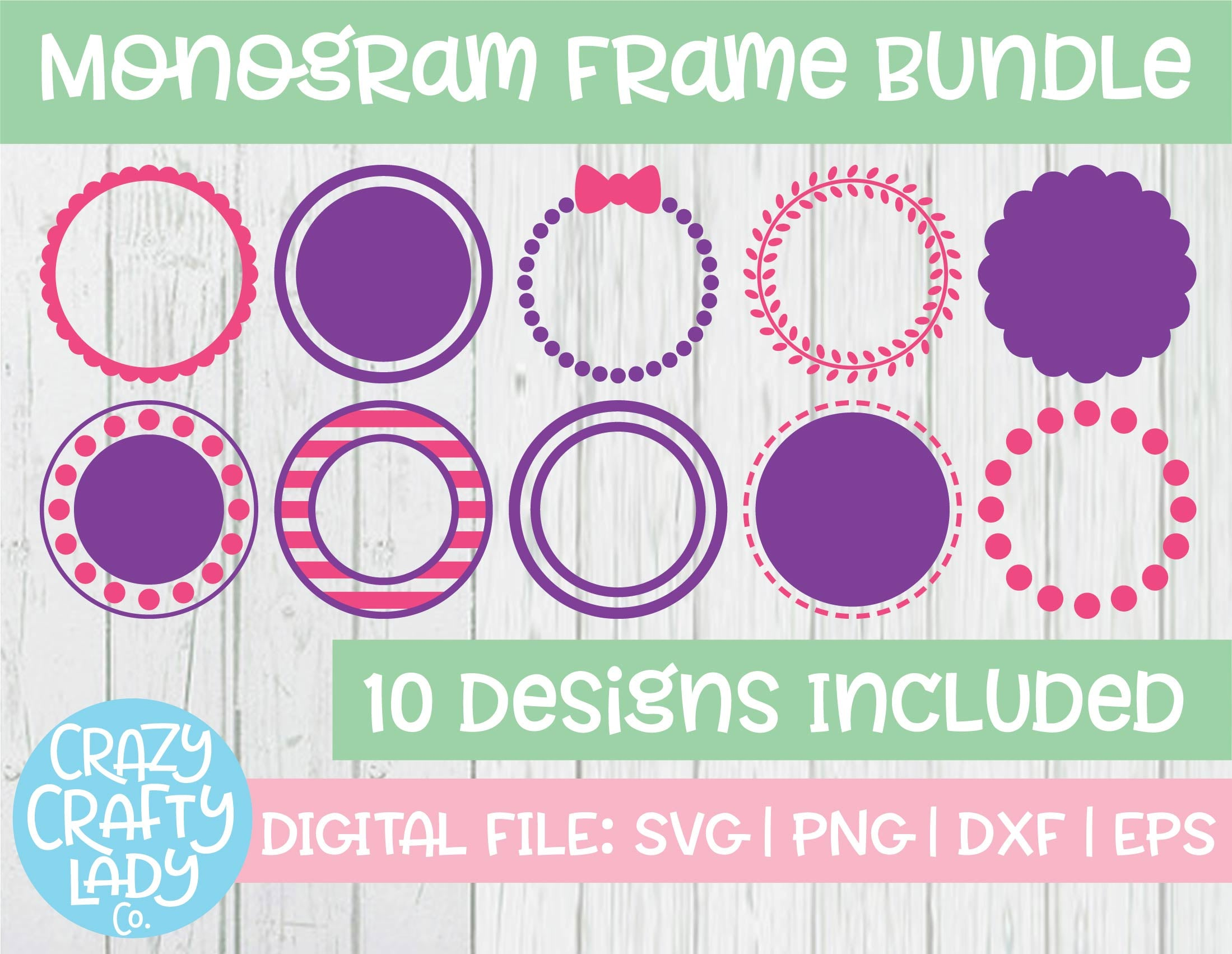 Monogram Frame Svg Cut File Bundle Crazy Crafty Lady Co