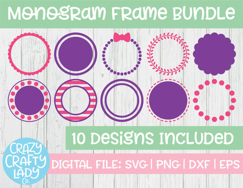 Monogram Frame SVG Cut File Bundle