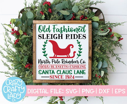 Old Fashioned Sleigh Rides SVG Cut File