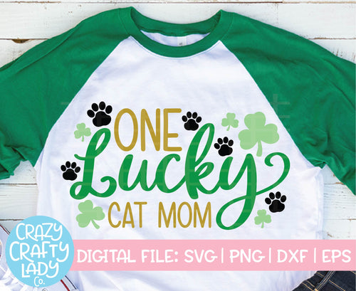 One Lucky Cat Mom SVG Cut File