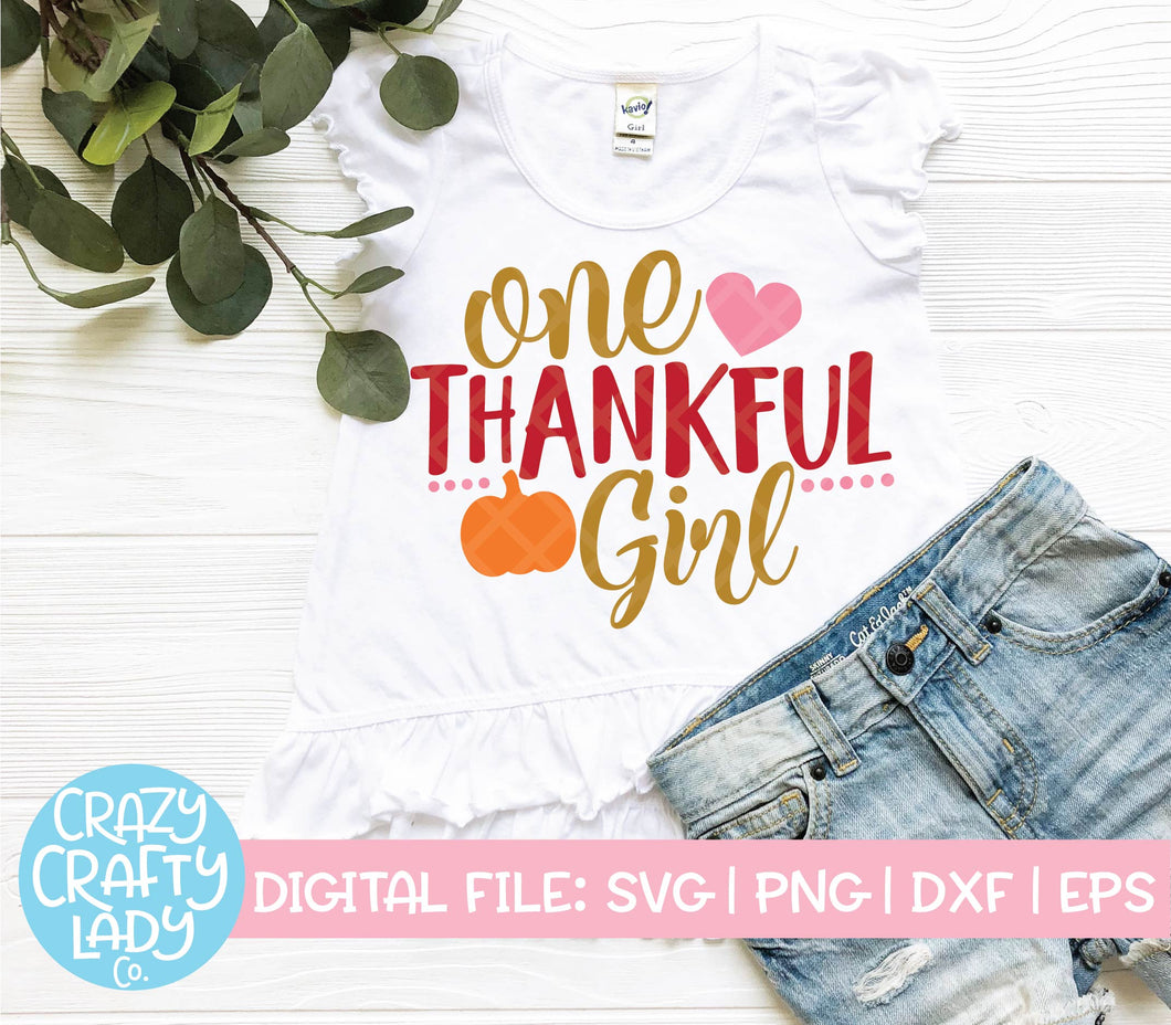 One Thankful Girl SVG Cut File
