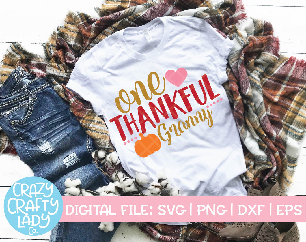 One Thankful Granny SVG Cut File
