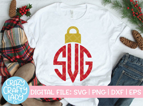 Christmas Ornament Monogram Frame SVG Cut File