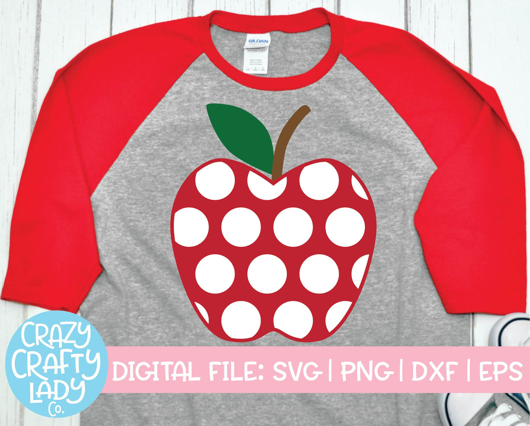 Polka Dot Apple SVG Cut File