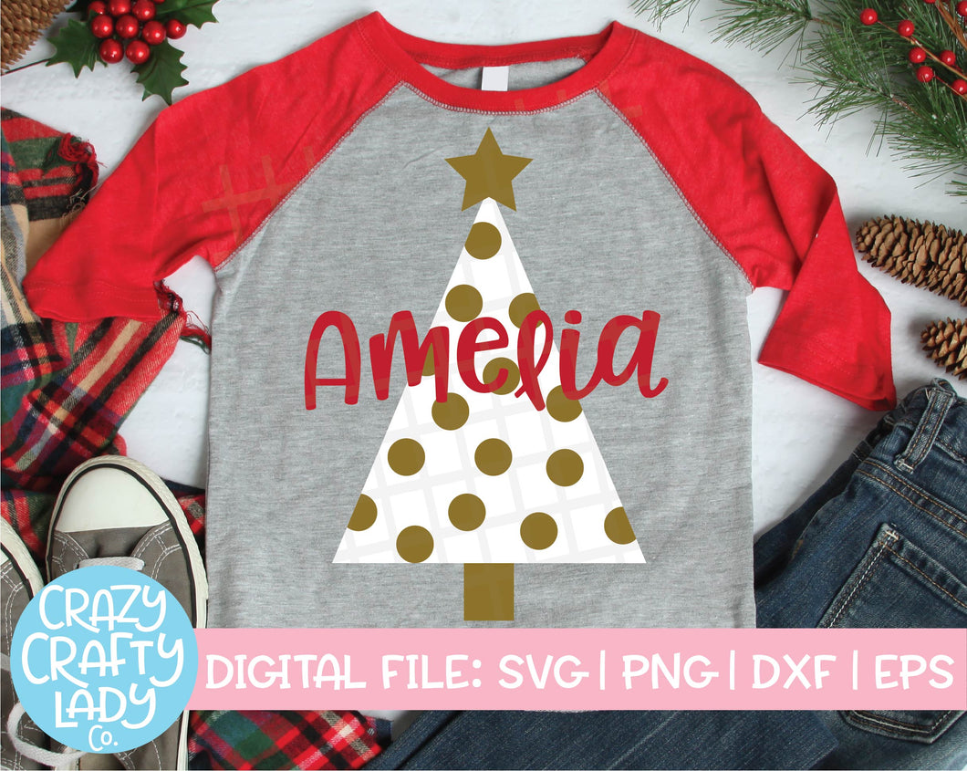 Polka Dot Christmas Tree SVG Cut File