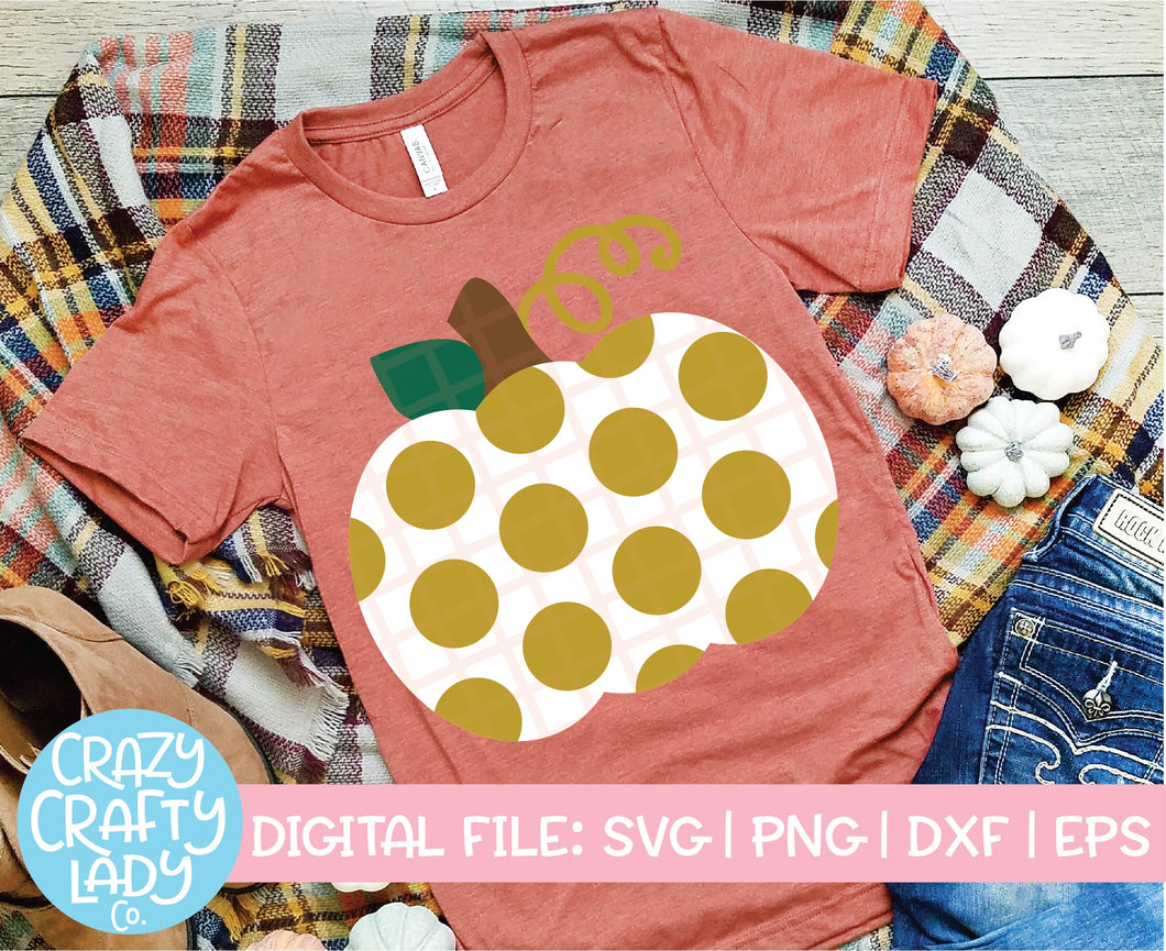 Polka Dot Pumpkin SVG Cut File