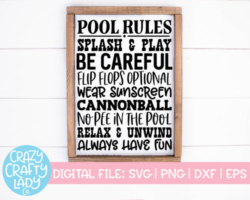 Pool Rules SVG Cut File