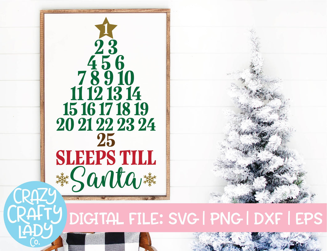 Sleeps Till Santa Advent Calendar SVG Cut File
