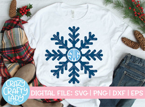 Snowflake Monogram Frame SVG Cut File