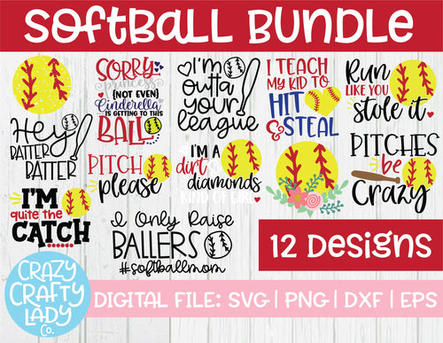 Softball SVG Cut File Bundle