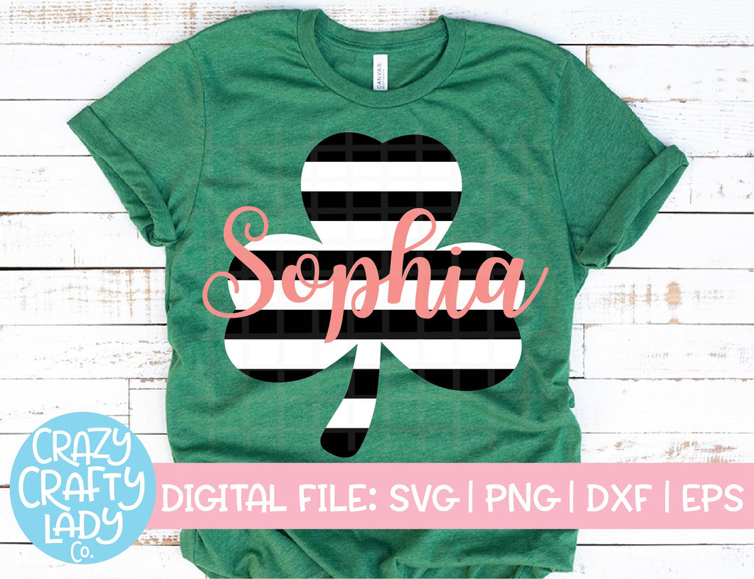 Striped Clover SVG Cut File