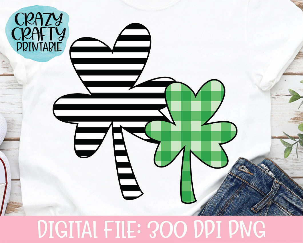 Striped & Plaid Clovers PNG Printable File