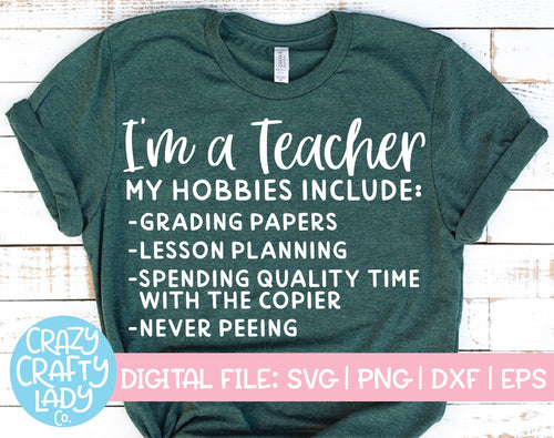 Teacher Hobbies SVG Cut File