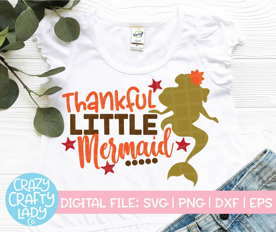 Thankful Little Mermaid SVG Cut File