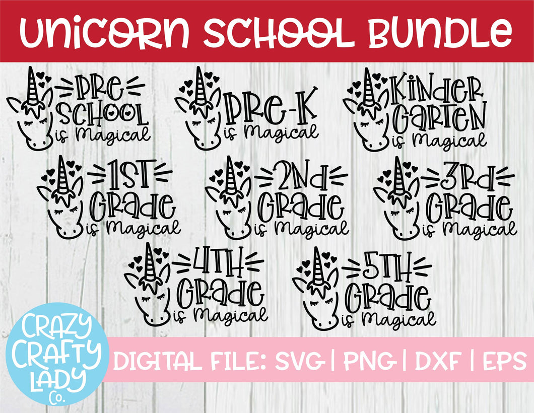 Unicorn School SVG Cut File Bundle