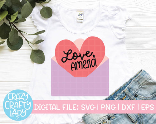 Valentine in Envelope SVG Cut File