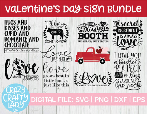 Valentine's Day Sign Bundle SVG Cut File