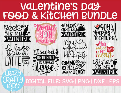 Valentine's Day Food & Kitchen SVG Cut File Bundle