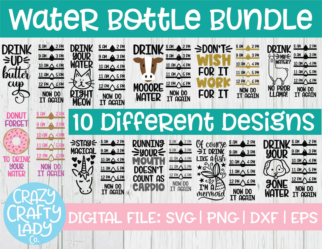 Water Bottle Tracker SVG Cut File Bundle