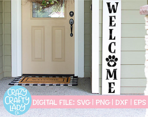 Welcome with Paw Print SVG Cut File