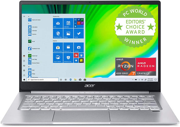 "Acer Swift 3 Thin & Light Laptop de 14"" Full HD IPS, AMD Ryzen 7 4700U Octa-Core con Radeon Graphics, 8GB LPDDR4, 512 GB NVMe SSD, WiFi 6, Backlit KB, Lector de huellas dactilares, Alexa Integrado Laptop iontec.mx"