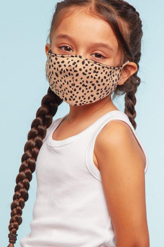 Final Sale - Taupe/Black Kids Facemask
