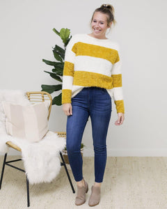 striped crewneck, sherpa sweatshirt, fall fashion, boutique fashion, cute sweatshirt, the local boutique, online boutique, womens boutique, best fort wayne boutique, best online boutique, cute online boutique, trendy online boutique