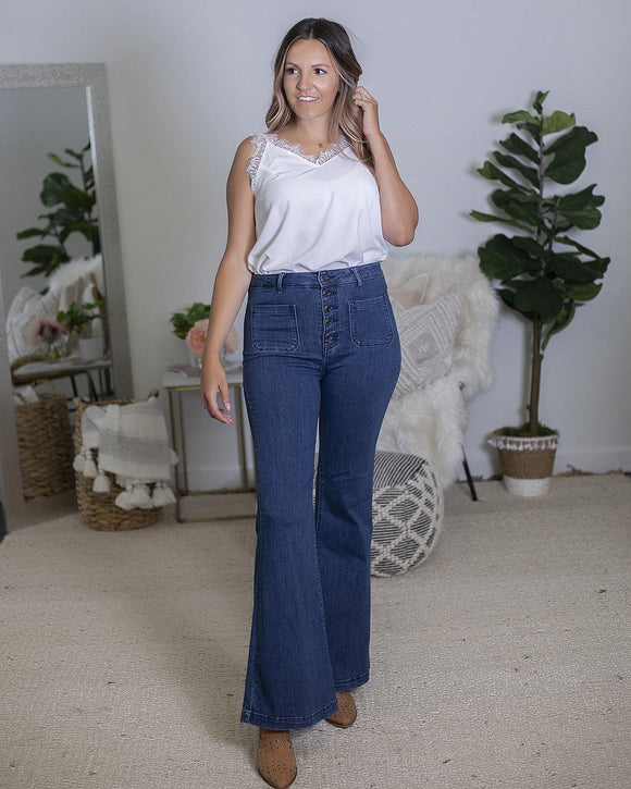 Button Fly Flare Jeans - The Local Online Women's Boutique