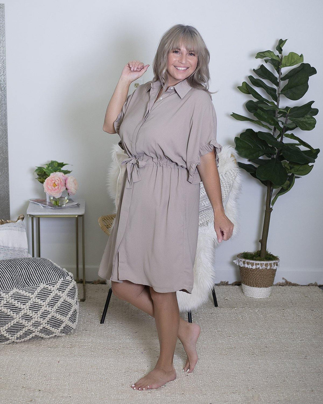 Taupe Ruffle Dress - The Local Women's Boutique Clothing