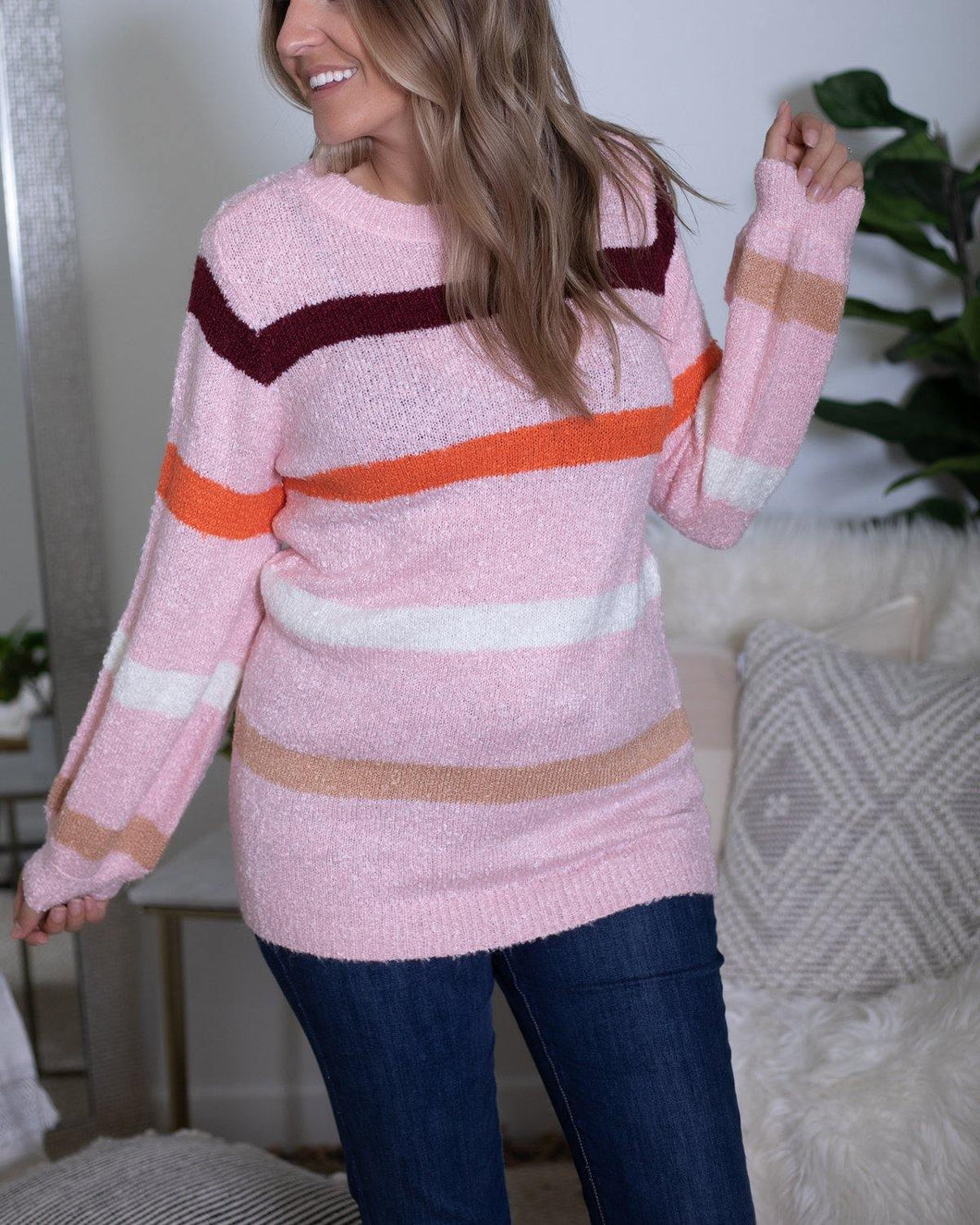 Multi Striped Crewneck Sweater - The Local Women's Boutique Clothing