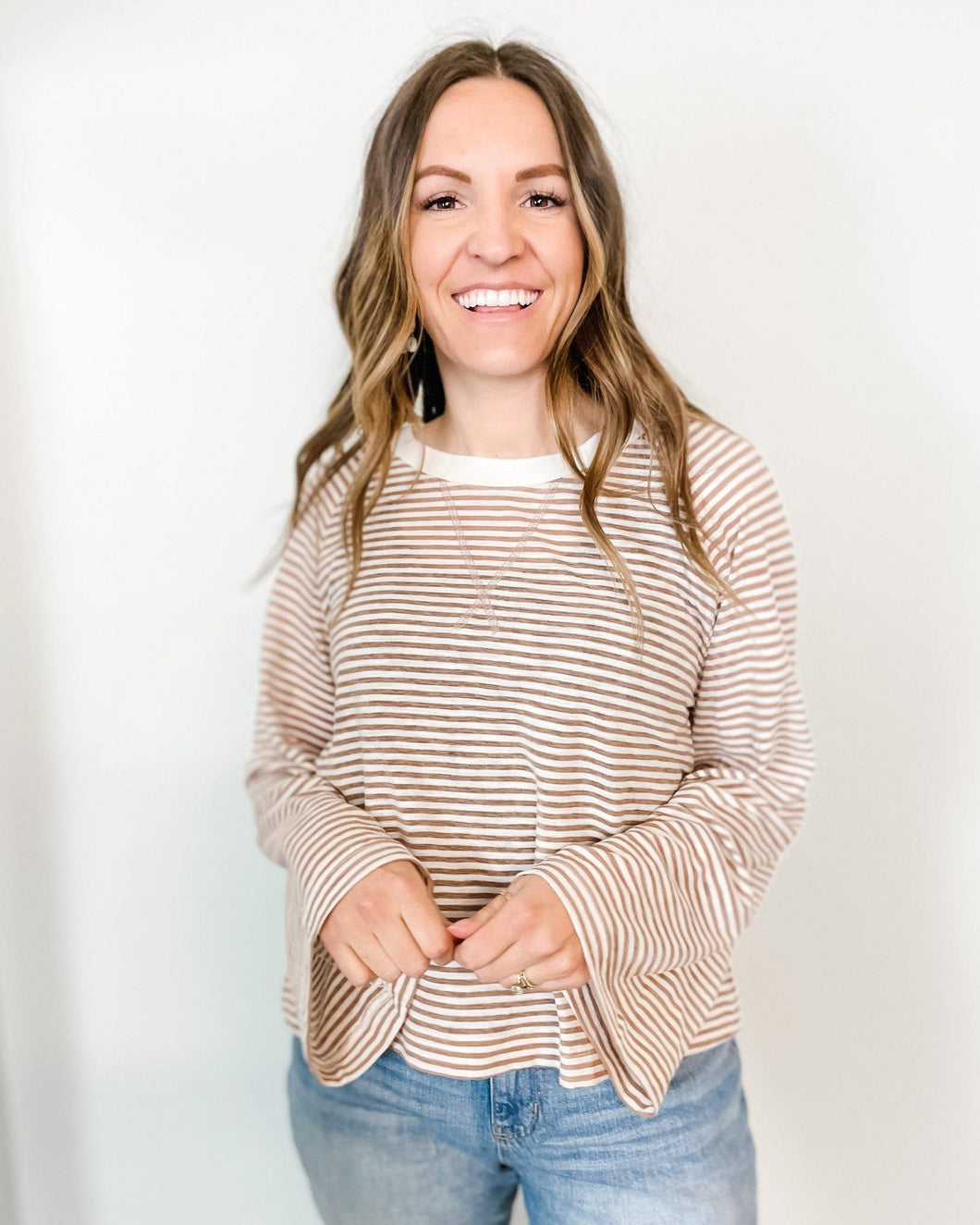 Pinstripe Crewneck - The Local Women's Boutique Clothing