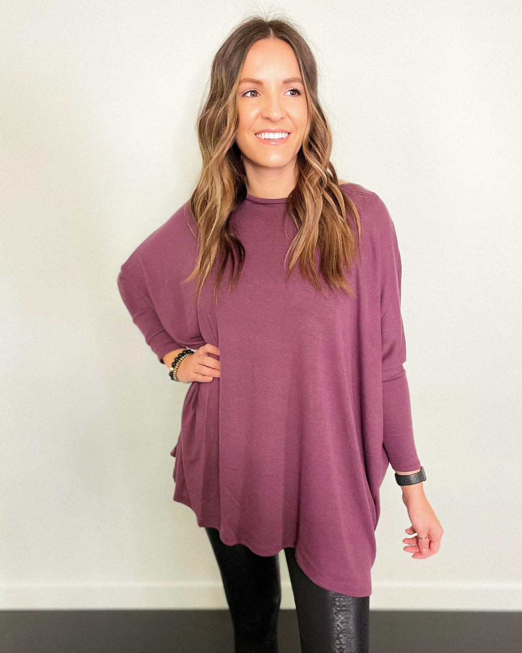 Purple Round Neck Poncho - The Local Women's Boutique Clothing