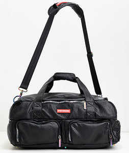 Sprayground Iridescent Black Leather Duffle Bag
