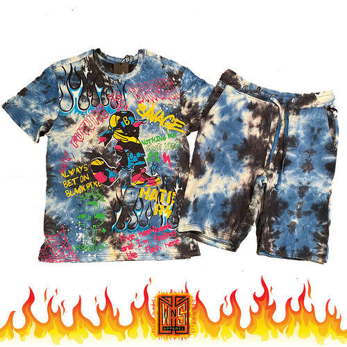 Nothing But Cash Graffiti Tie Dye short set