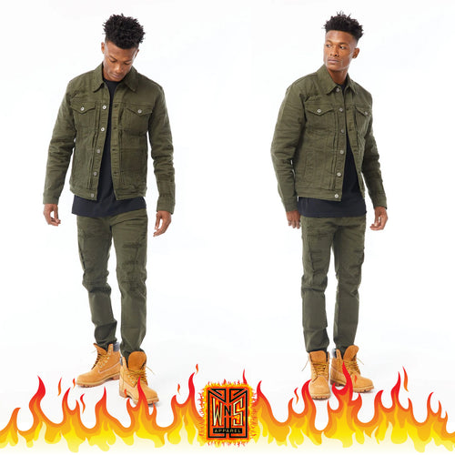 Jordan Craig Army Green Denim Set