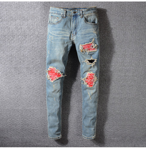 Red Bandana Rip Slim Fit Jeans